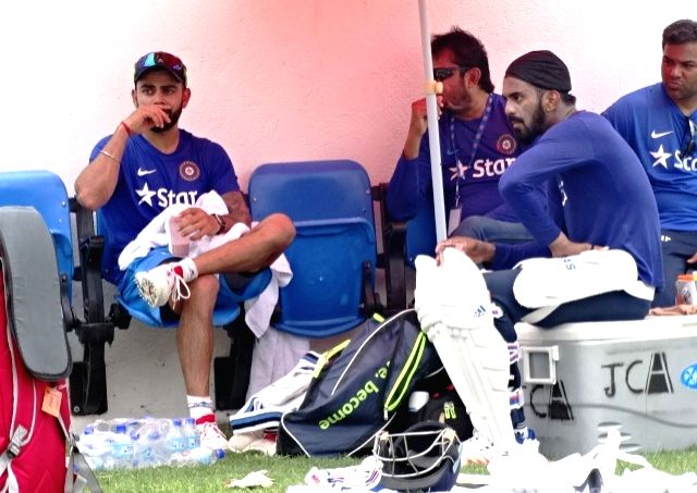 Indian cricketers Virat Kohli, Lokesh Rahul and Lokesh Rahul during a practice session at Kingston, Jamaica July 31, 2016. - Virat Kohli and Lokesh Rahul