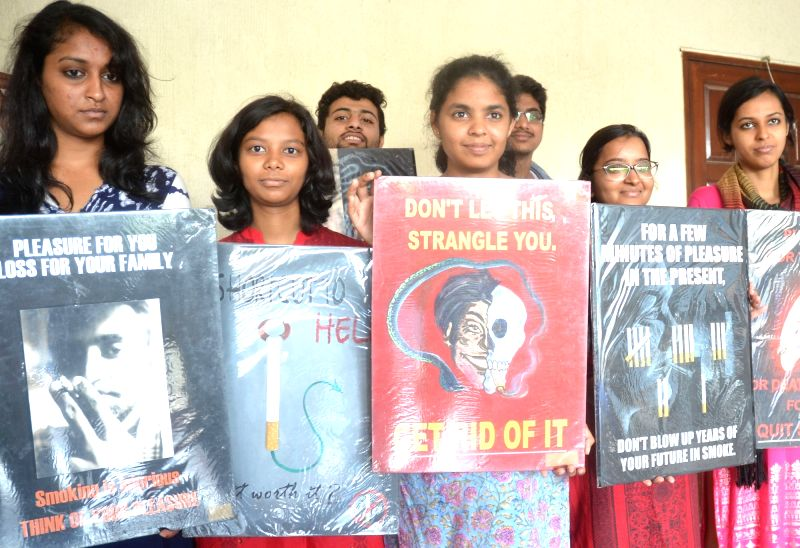 Indian Dental Association members participate in a awareness program organised on World No Tobacco Day 2017 in Bengaluru, on May 31, 2017.