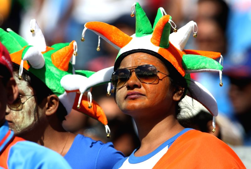 Indian fans cheer during an ICC Champions Trophy match between India and South Africa at Kennington Oval in London on June 11, 2017. (Photo: IANS)​