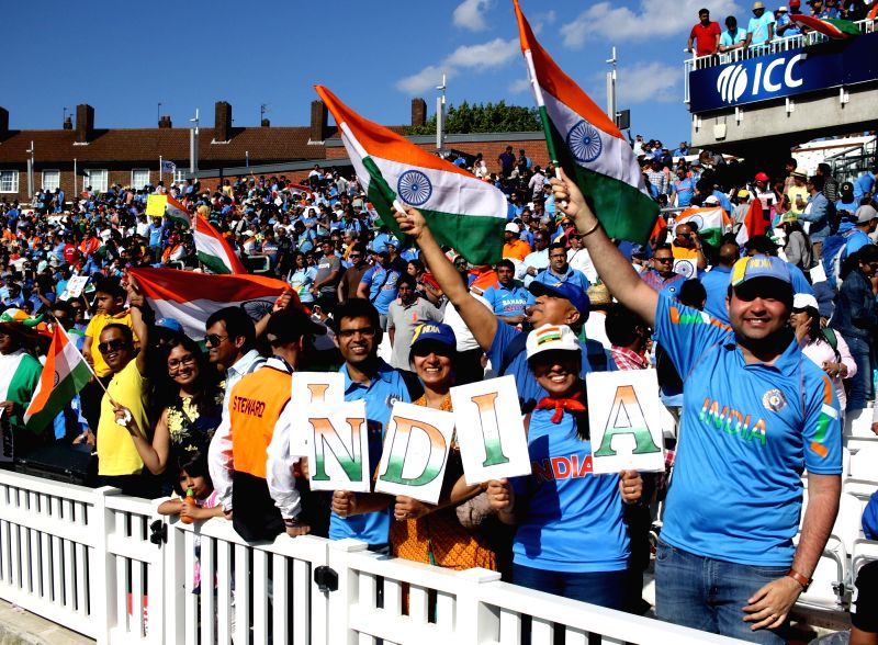Indian fans cheer during an ICC Champions Trophy match between India and South Africa at Kennington Oval in London on June 11, 2017. (Photo: IANS)​​