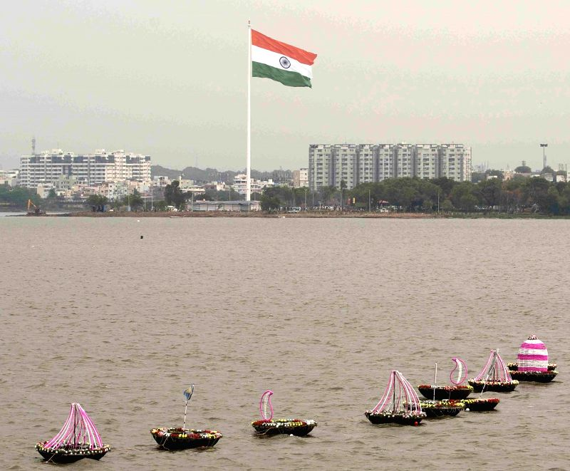 Indian flag flutters at Sanjeevaiah Park on Telangana formation day in Hyderabad, on June 1, 2016.
