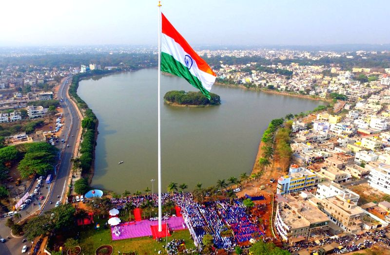 Indian flag hoisted on 110 m (365 feet) high flag post installed at Kote Kere, in Belagavi on March 12, 2018.