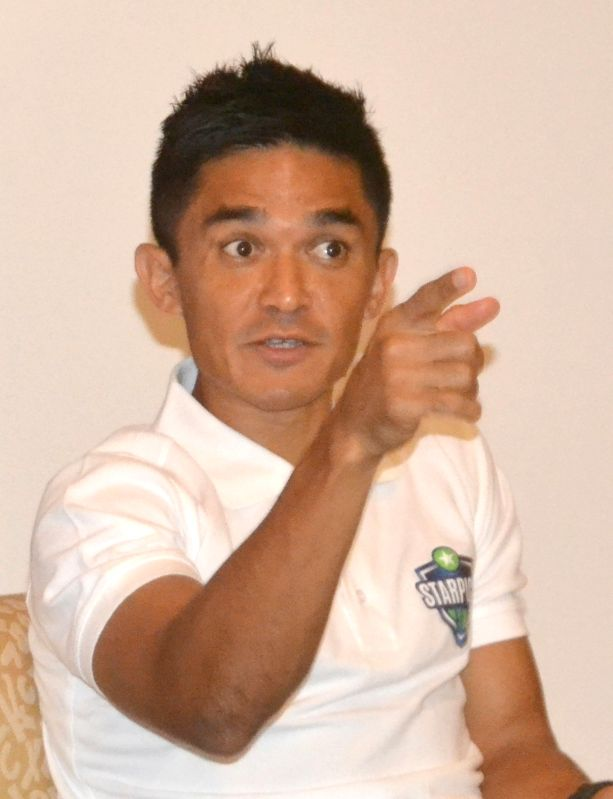 Indian football captain Sunil Chhetri addresses a press conference, in Bengaluru on June 13, 2018 – - Sunil Chhetri