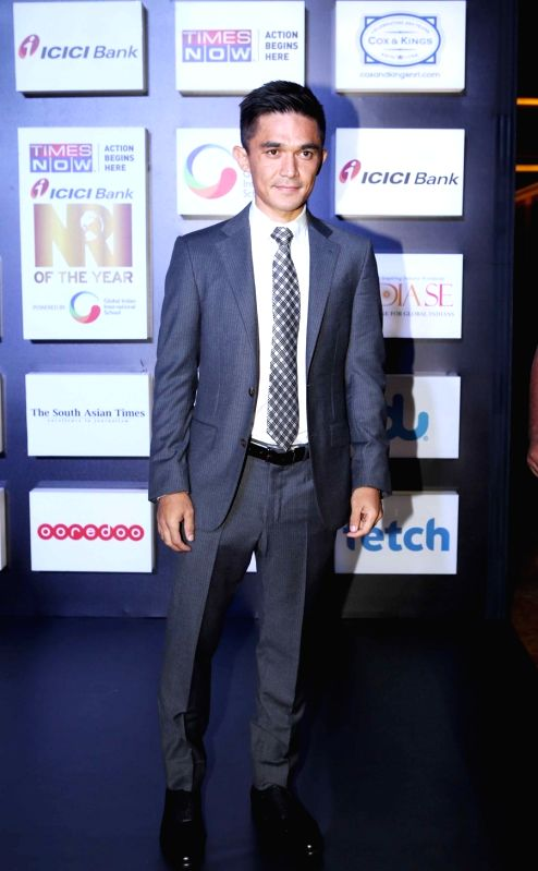 Indian football captain Sunil Chhetri at the NRI of the Year Awards 2018 in Mumbai on July 11, 2018. - Sunil Chhetri