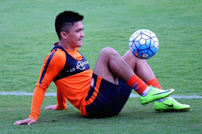 Indian Football Captain Sunil Chhetri during a practice session at Sree Kanteerava Stadium in Bengaluru on June 12, 2017. - Sunil Chhetri
