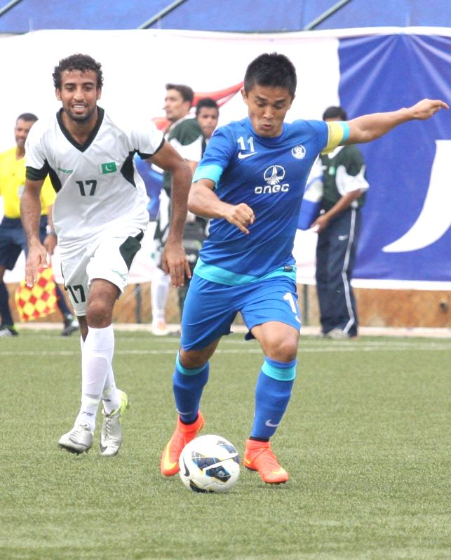 Indian football captain Sunil Chhetri in action during a friendly football match against Pakistan at Bangalore Football Stadium on Aug 20, 2014. Pakistan won. - Sunil Chhetri