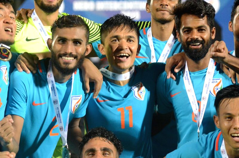 Indian football team celebrate after clinching the Intercontinental Cup at Andheri Sport Complex in Mumbai on June 10, 2018. India defeated Kenya in the finals. Score: 2-0.
