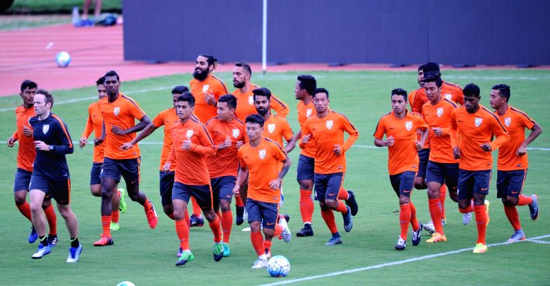 Indian Footballers during a practice session at Sree Kanteerava Stadium in Bengaluru on June 12, 2017.