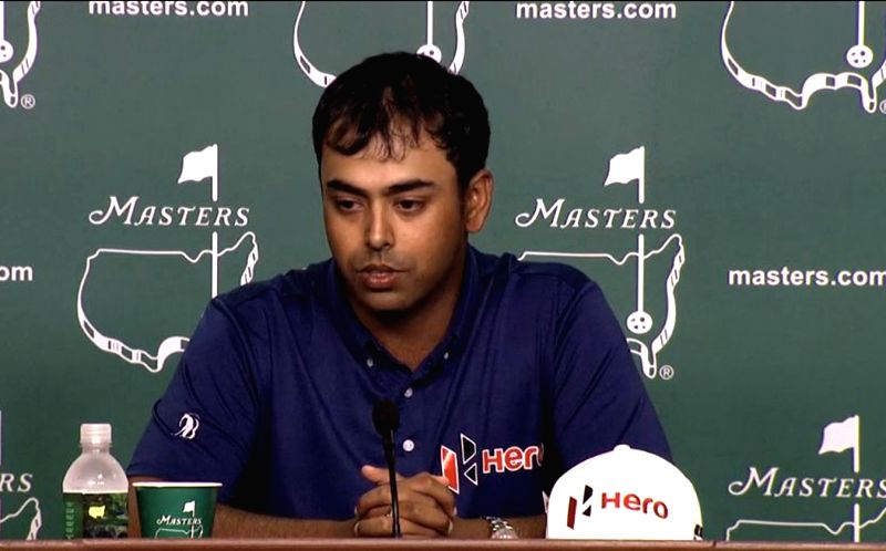 Indian golfer Anirban Lahiri addresses a press conference ahead of Augusta Masters Tournament in the United States on April 7, 2015.
