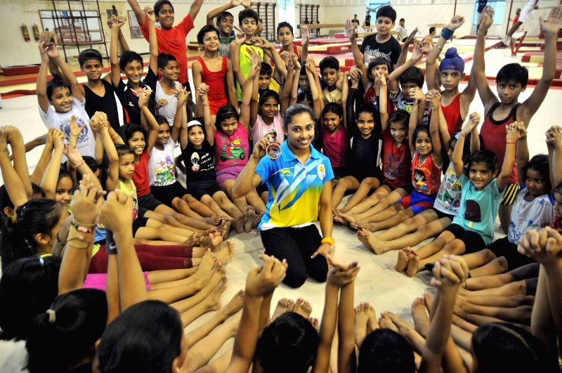 Indian gymnast Deepa Karmarkar who created history by winning bronze at the Commonwealth Games 2014 during a press meet at IGI stadium in New Delhi on Aug 3, 2014.
