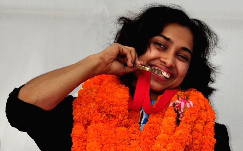 Indian gymnast Deepa Karmarkar who created history by winning bronze at the Commonwealth Games 2014 during a programme organised to felicitate her in Agartala on Aug 4, 2014.