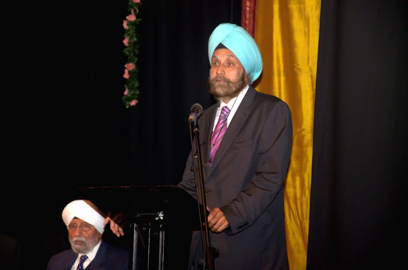 Indian High Commissioner to UK Navtej Sarna addresses during the  Independence Day celebrations at the Bharatiya Vidya Bhavan in London on Aug 4, 2016.