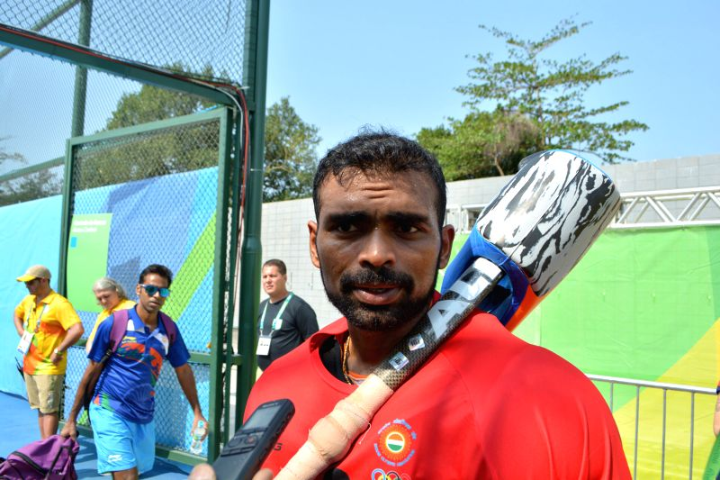 Indian hockey skipper PR Sreejesh during the Pool B match between India and Argentina at the 2016 Rio Olympic Games in Rio de Janeiro, Brazil on Aug 9, 2016.