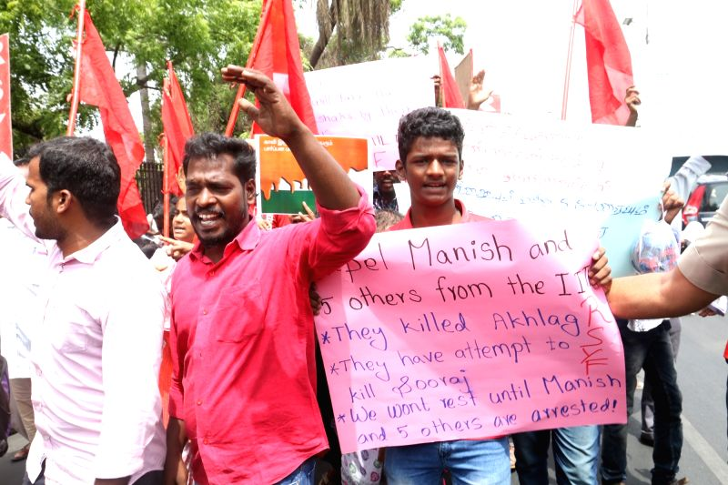 Indian Institute of Technology-Madras (IIT-M) students stage a demonstration to condemn the attack on a Ph.D scholar in the campus for participating in a beef festival in Chennai, on May 31, ...