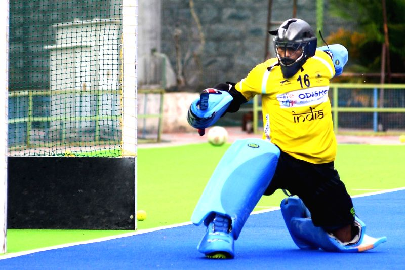 Indian men's hockey team captain PR Sreejesh during a practice session ahead of Asian Games 2018, in Bengaluru on Aug 3, 2018. - P