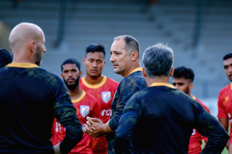 Indian National Football Team Head Coach Igor Stimac with the players during a practice session.