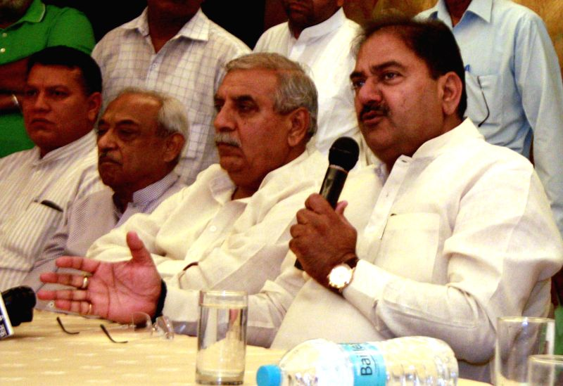 Indian National Lok Dal (INLD), party leader Abhay Singh Chautala during a press conference in Gurgaon on Aug 28, 2014. - Abhay Singh Chautala
