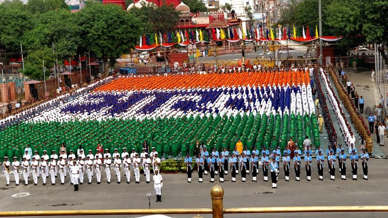 Indian Navy and Indian Air Force contingents take part during the first full dress rehearsal for the Independence Day celebrations 2018 at Red Fort in New Delhi on on Aug 11, 2018.