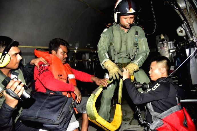 Indian Navy has rescued four crew members of a tugboat off the Mumbai coast