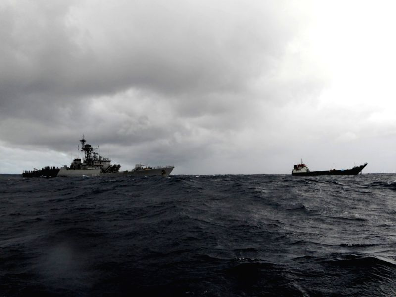 Indian Navy's INS Kirch approaches Maria 3, the missing Maldivian landing craft that had gone missing. The boat was unable to propel as its forward ramp had collapsed.