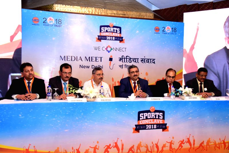 Indian Oil Corporation Director HR Ranjan Kumar Mohapatra addresses a press conference regarding 'Sports Conclave 2018' in New Delhi, on June 7, 2018. - Ranjan Kumar Mohapatra