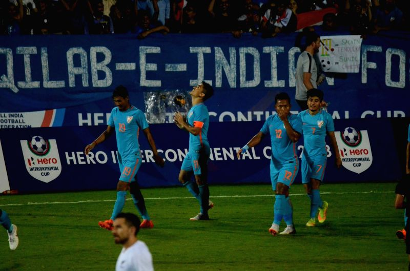Indian players celebrate a goal during an Intercontinental Cup 2018 match between India and New Zealand in Mumbai, on June 7, 2018.