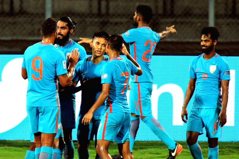 Indian players celebrate  after winning AFC Asian Cup UAE 2019 qualifying match against Kyrgyz Republic in Bengaluru on June 13, 2017.