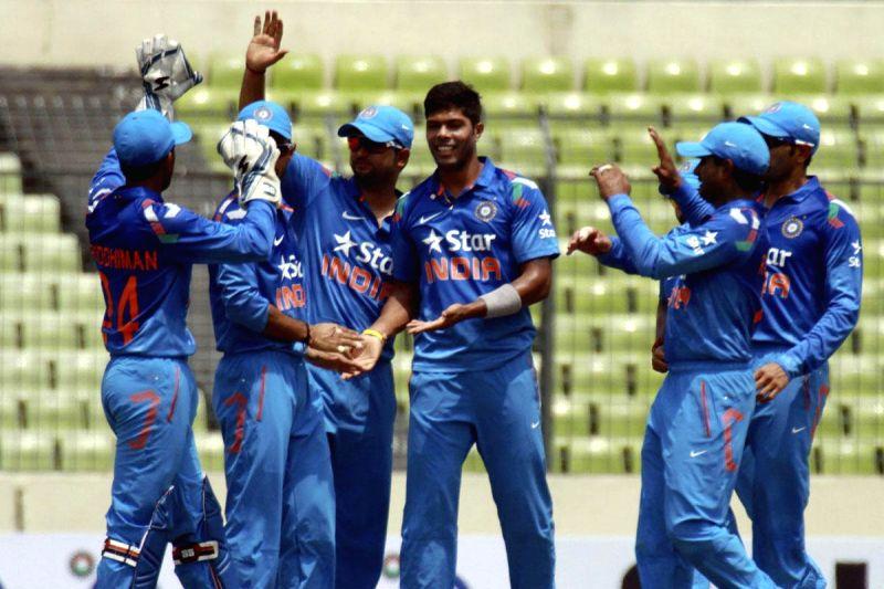 Indian players celebrates the fall of Tamim Iqbal`s wicket of Bangladesh during the 1st ODI between India v/s Bangladesh at Shere Bangla National Stadium in Mirpur, Bangladesh on June 15, 2014.