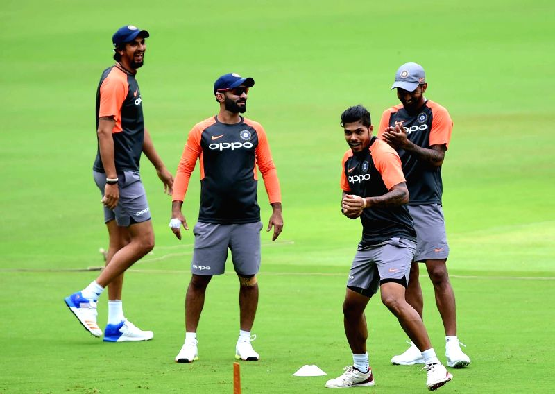 Indian players during a practice session ahead of their maiden cricket test match against Afghanistan in Bengaluru on June 12, 2018.