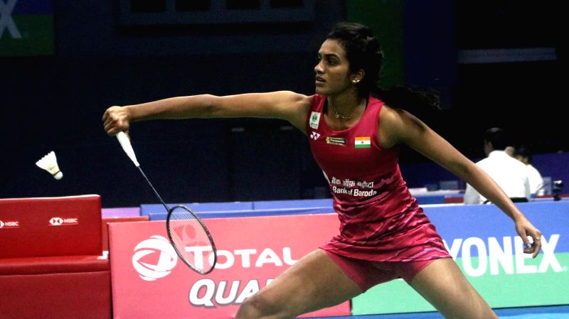 Indian shuttler PV Sindhu in action against Spain's Beatriz Corrales during Yonnex Sunrise Dr. Akhilesh Das Gupta India Open 2018 in New Delhi on Feb 2, 2018.