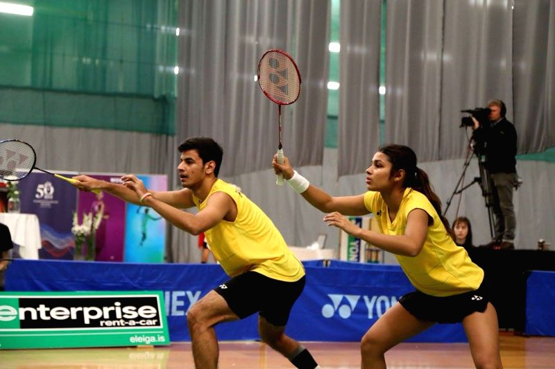 Indian shuttlers Kuhoo Garg and Rohan Kapoor in action during mixed doubles match of Iceland International Badminton Tournament in Reykjavik, Iceland. - Rohan Kapoor