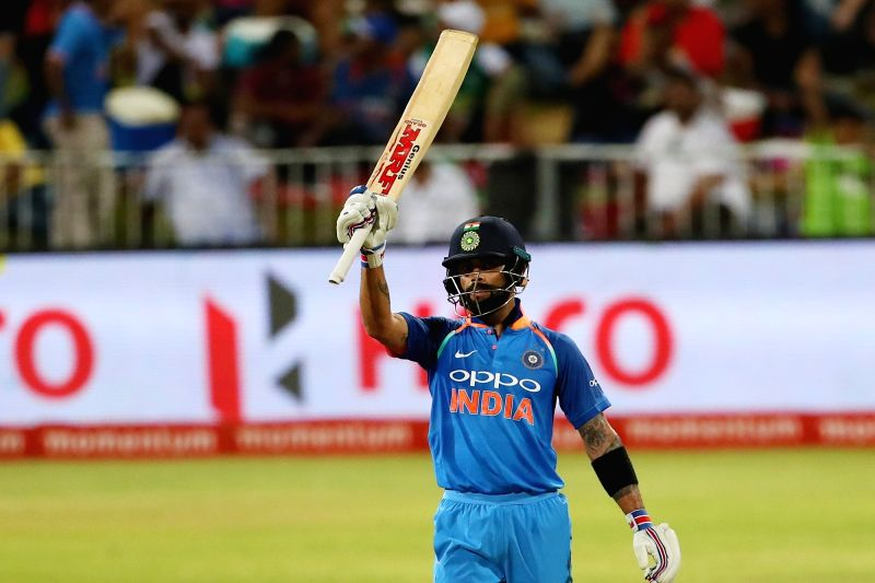 Indian skipper Virat Kohli celebrates his half century during the 1st ODI match between India and South Africa at Kingsmead Cricket Ground in Durban, South Africa on Feb 1, 2018. - Virat Kohli