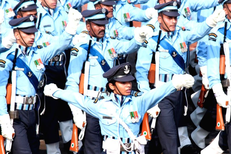 Indian soldiers during full dress rehearsal for Indian Republic Day parade at Rajpath in New Delhi on Jan 23, 2016.