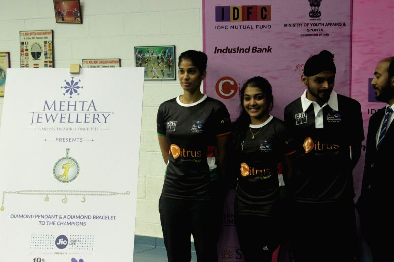 Indian squash players during a press conference to launch the 19th edition of Asian Squash Championship Chennai, in Chennai on April 24, 2017.