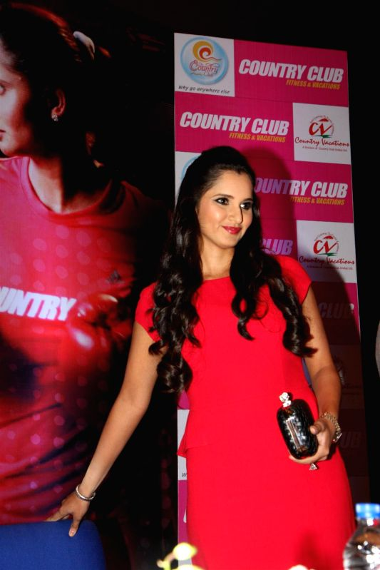Indian tennis player Sania Mirza at a press conference announcing her as the brand ambassador of Country Club Fitness and Vacation in Mumbai, India on March 2, 2013.