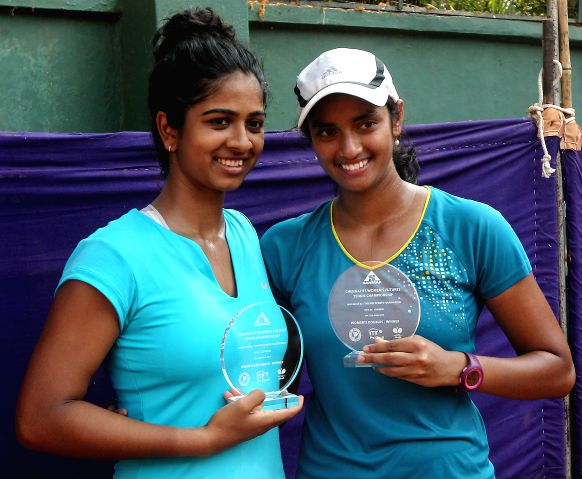 Indian tennis players Sharrmadaa Baluu and Rishika Sunkara and Rishika Sunkara the winners of ITF Women's Futures Tennis tournament (doubles)  in Chennai on April 11, 2014.