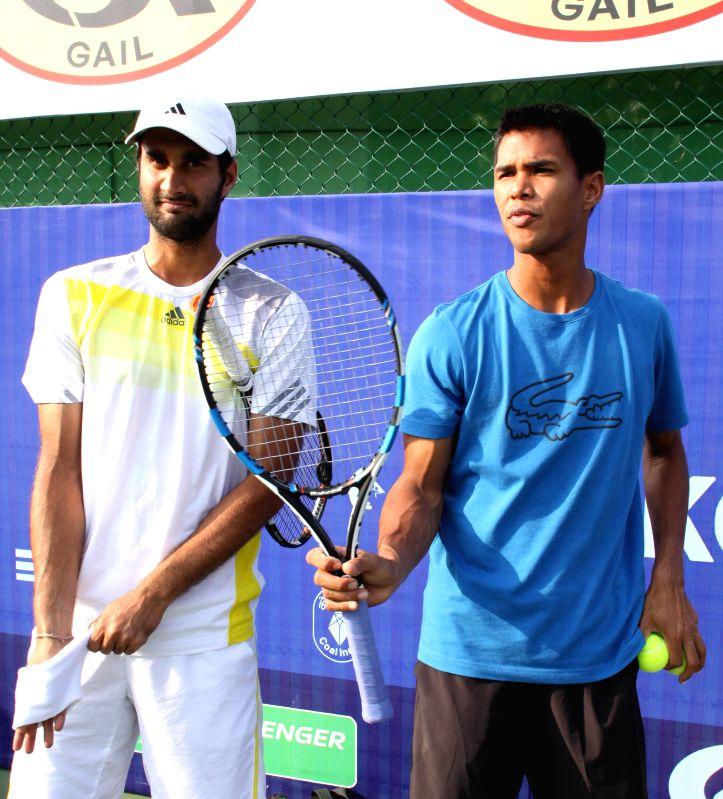 Indian tennis players Yuki Bhambri and Somdev Devvarman  during the Emami Kolkata Open 2015- ATP Challenger on Feb 23, 2015.