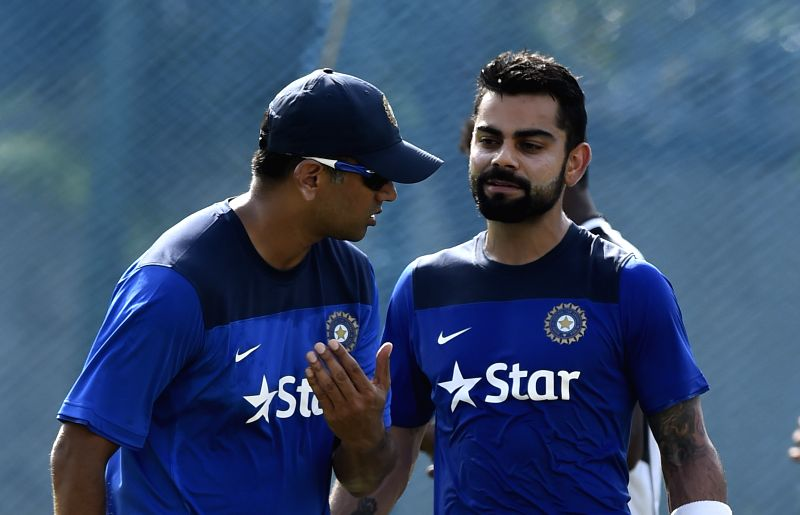Indian (test team) captain Virat Kohli with India A coach Rahul Dravid during a practice session in Chennai on July 27, 2015.