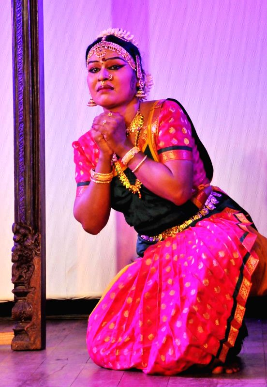 Indian Transgender Bharatanatyam dancer Malikka performs during Expression Beyond Gender - first international Trans Arts festival to be organised in India; in Bengaluru on July 31, 2016. - Malik