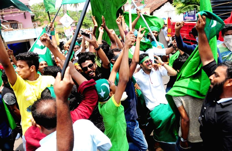 Indian Union Muslim League workers celebrate  the victory of the UDF in Malappuram by-election in Kannur of Kerala on April 18, 2017.