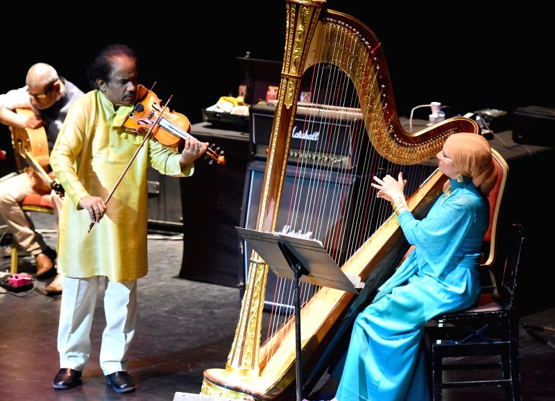 "Indian violinist Dr. L. Subramaniam performs during ""Concert for Peace"" - part of the fifth edition of 'India by the Nile' cultural festival at Cairo Opera House in Cairo, Egypt ..."