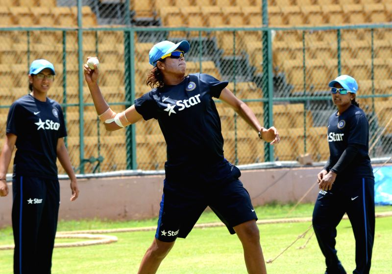 Indian women cricket team during the practice session at KSCA in Bengaluru on June 27, 2015.
