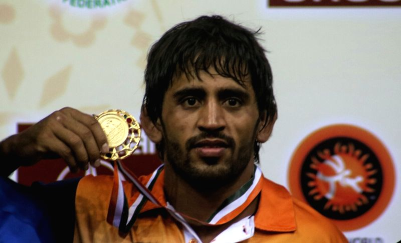 Indian wrestler Bajrang Punia won gold medal in men's 65kg freestyle wrestling at Asian Wrestling Championship in New Delhi, on May 13, 2017.