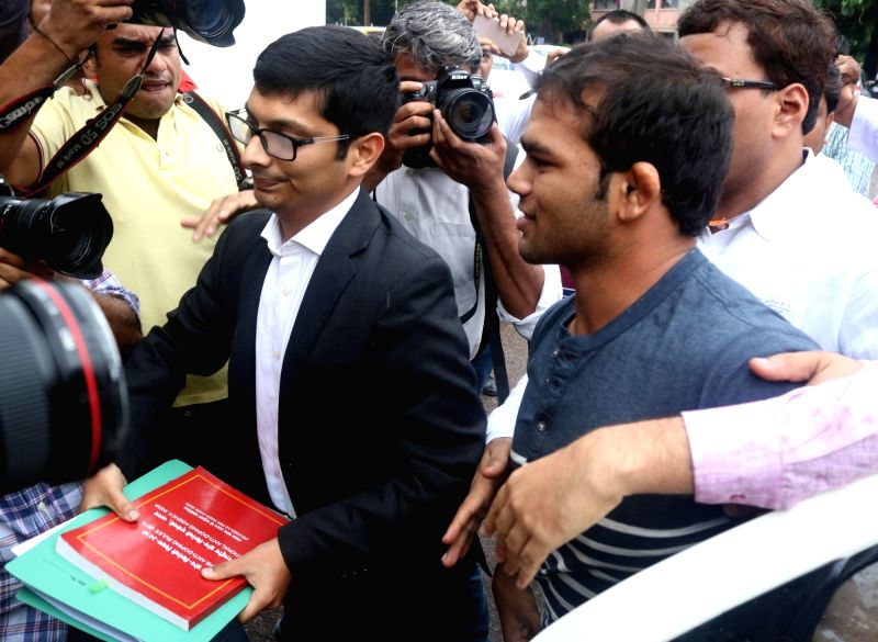 Indian wrestler Narsingh Pancham Yadav arrives at the National Anti Doping Agency (NADA) office in New Delhi on July 27, 2016. - Narsingh Pancham Yadav