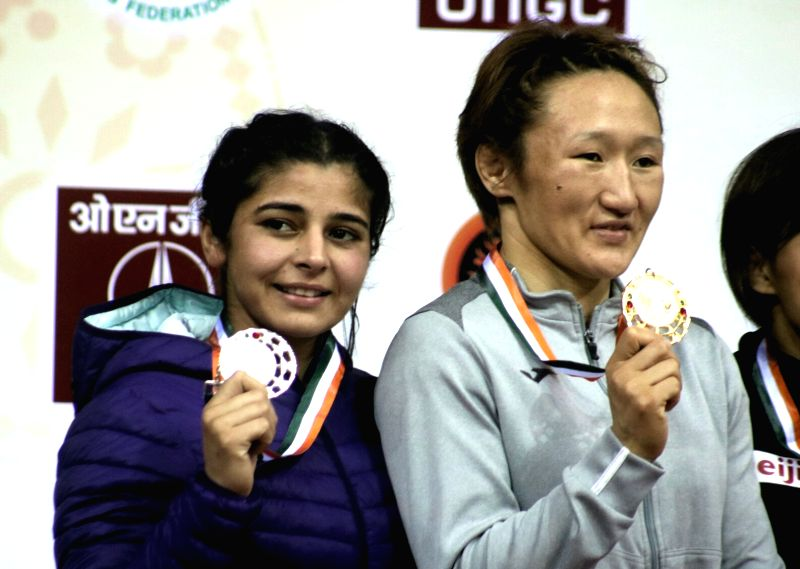 Indian wrestler Sarita won silver medal during the match of 58 kg Asian Wrestling Championship in New Delhi, on May 13, 2017. She lost to Kyrgyzstan's Aisuluu Tynybekova.