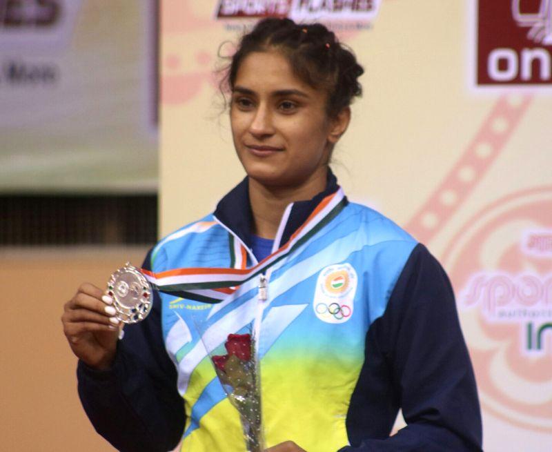 Indian wrestlers Vinesh Phogat and Sakshi Malik won silver medal during Asian Wrestling Championships in New Delhi on May 12, 2017. - Malik