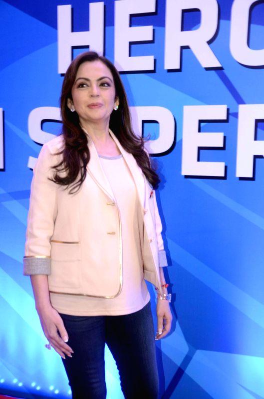 Industrialist Nita Ambani during the launch of Hero India Super League in Mumbai, India on August 28, 2014. - Nita Ambani