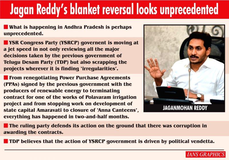 Infographics: Jagan Reddy's blanket reversal looks unprecedented.(IANS Infographics)