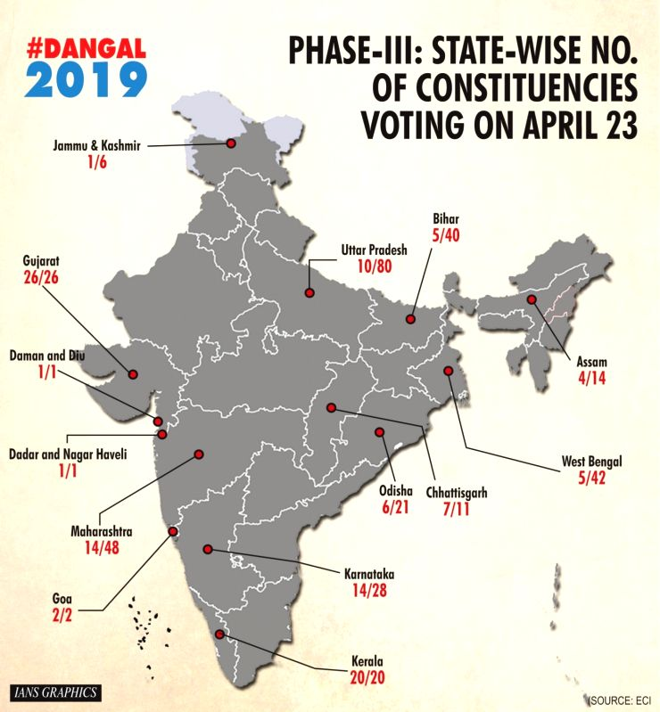 Infographics: Phase-III: State-wise no. of constituencies voting on April 23. (IANS Infographics)