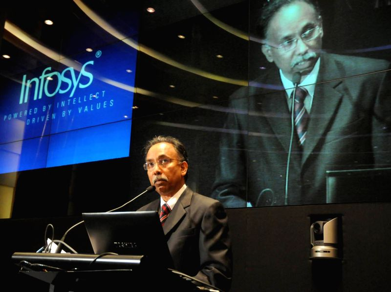 Infosys CEO and MD, S. D. Shibulal announces Q1-Financial Results of the company during a press conference at Infosys Campus in Bangalore on July 11, 2014.